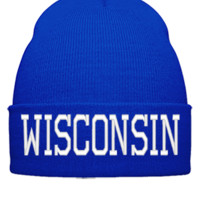 WISCONSIN EMBROIDERY HAT - Beanie Cuffed Knit Cap