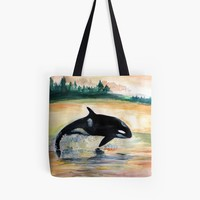 'Wild Orca Whale in Freedom ' Tote Bag by Manitarka