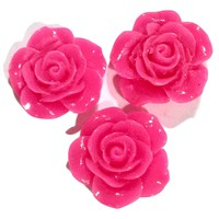 Hot pink flower resin cabochon 18mm / 1-5 pieces