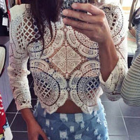 Casual Long Sleeve Hollow Out Lace Top Blouse