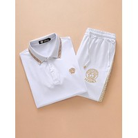 Versace 2018 summer casual men's suit short-sleeved shorts trend two-piece F-A-KSFZ White