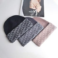Dior letter jacquard all-match outdoor knitted wool hat