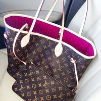 Louis Vuitton LV Fashion Leather Shopping Leisure Two Piece Suit Shoulder Bag Handbag