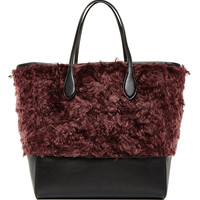 Red Mohair and Calf Leather Tote Bag