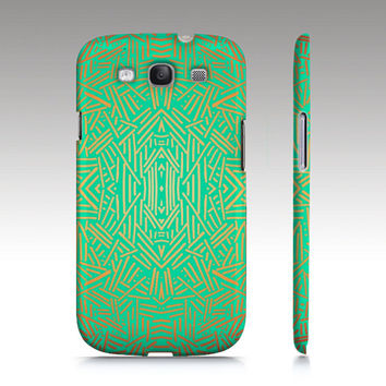 Samsung Galaxy S3 case, Galaxy S4 case,  tribal aztec ethnic pattern design, teal mint aqua yellow,  art for your phone