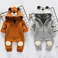 Cute Bear born Infant Baby Boy Girl Kid Ear Hooded Romper Zipper Cartoon Patchwork Jumpsuit Clothes Outfit For 0-24M