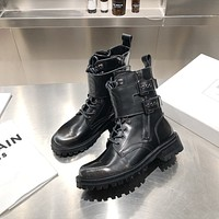 BALMAIN  Trending Women's men Leather Side Zip Lace-up Ankle Boots Shoes High Boots