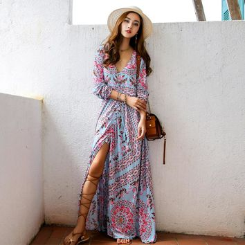 Floral Boho Dress Summer Long Sleeve V-Neck Tassel Lace Tied Up Cotton Ethnic Hippie Chic Holiday Womens Dress