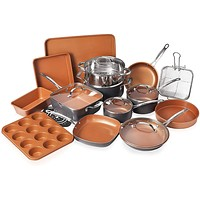 Gotham Steel Cookware + Bakeware Set with Nonstick Durable Ceramic, Graphite / 20 Piece Set