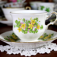 Queen Anne Tea Cup and Saucer, Beautiful Footed Cup, English Bone China 12259