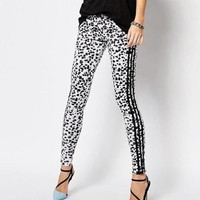 Adidas Originals Fashion Print Snow Leopard Wave Point Running Leggings Sweatpants