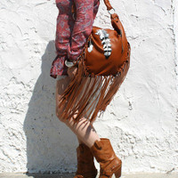 Copper rusted feathers bag brown leather hobo aztec bag navajo boho tribal bohemian festival bag tribal southwestern western leather fringe