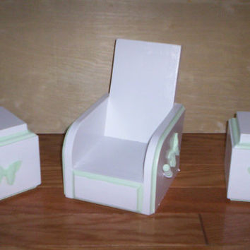 chair and tables  handcrafted for American girl doll green butterfly design