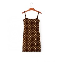 Louis Vuitton LV Summer Sexy Women Stylish Print Stripe Dress Show Body Sleeveless Vest Type Dress I-AK-LCON Coffee