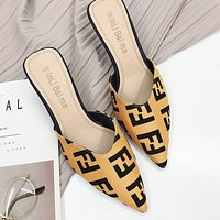 FENDI Autumn Popular Women Pointed High Heels Sandals Shoes Yellow
