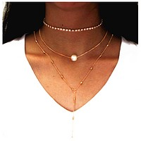 Lock necklace female suit crystal pendant three pearl necklace female items jewelry