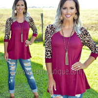 Burgundy Leopard Sleeve Top