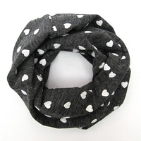 Kid Valentine Scarf Childs Heart Scarf Toddler Scarf Kids Winter Scarf Grey Childs Scarf White Hearts Childs Infinity Scarf Ready to Ship