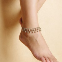 Shiny Ladies Cute New Arrival Jewelry Gift Sexy Accessory Stylish Beach Yoga Double-layered Water Droplets Tassels Anklet [6048908289]