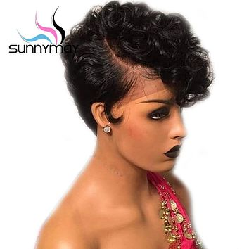 13x4 Short Human Hair Wigs For Black Women Pre Plucked Bob Wig Remy Brazilian Glueless Lace Front Human Hair Wigs