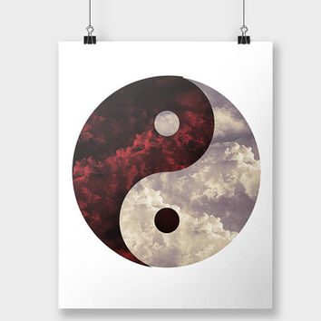 Print Heaven and Hell Yin Yang Clouds Evil Good Philosophical Art Wall Decor