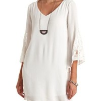 Crochet Applique Bell Sleeve Shift Dress by Charlotte Russe - Ivory