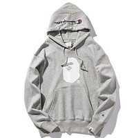 BAPE & Champion joint men and women models high street wild hooded sweater Grey