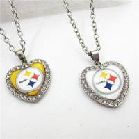 1pcs America Football Sport Denver Broncos Necklace With Chains 50cm Sports Charms Jewelry Crystal Heart Pendant Necklace