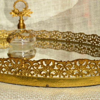 Vintage brass oval vanity tray // Oval Vanity Mirror Filigree Tray