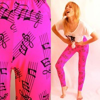 Neon Pink Music Note High Waist Leggings by devaniNYC on Sense of Fashion