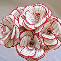 Set of 6 Book Page Paper Flowers, Paper Roses, Stem Rose, Book Paper Wedding Decor, Eco Wedding, Red and White Flowers, Vintage Paper Flower
