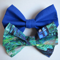 NEW. Stitch in Time Hair Bow Set. Blue & Green.