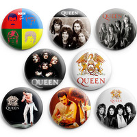 Queen Pinback Buttons Badge 1.25 inches (Set of 8 ) freddie mercury bandNEW