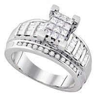 10kt White Gold Women's Princess Diamond Cindy's Dream Cluster Bridal Wedding Engagement Ring 7/8 Cttw - FREE Shipping (USA/CAN) - Size 7