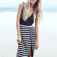 Backless Asymmetric Stripe Maxi Dress