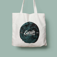 Earth friendly reusable shopping canvas tote bag