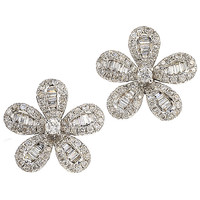 White Lily Stud Earrings - Graziela Gems