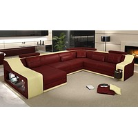Creative Crafted Modern Leather Sectional Sofa Set
