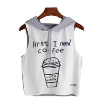 T Shirt Women  Sexy Coffee First Letter Print Hooded Sleeveless T-Shirt Women  Tops camiseta mujer #23 BL