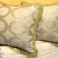 Gold Geometric 18x18 pillow cover with fringe – Golden decor