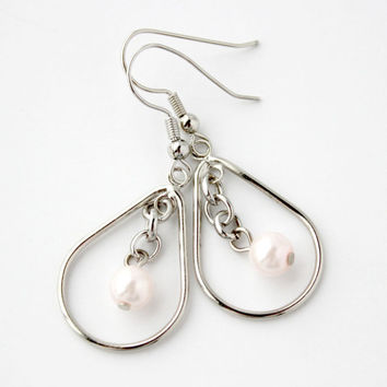 Pale Pink and Silver Teardrop Dangle Earrings - Faux Pearl and Chain Handmade Jewelry - Ready to Ship