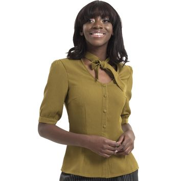 Katherine 40's Style Button Down Olive Green