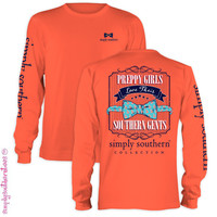 Simply Southern Collection Preppy Girls Love Their Gents Anchor Bow Long Sleeve T Shirt