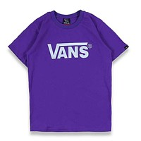 VANS Trending Women Men Stylish Letter Print Short Sleeve Round Collar T-Shirt Pullover Top Purple I-Great Me Store