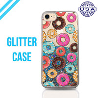 Donut Pattern Doughnuts Pink Pastry New Liquid Glitter Case Sparkle Clear Case iPhone 6 Plus iPhone 6s iPhone 6s Plus iPhone 7 iPhone 7 Plus