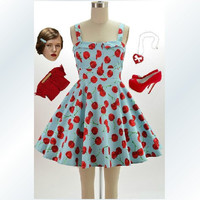 Retro 50's vintage dress blue dress with red cherry, early 1960s daily dress cotton, 1950s dress, vintage style dress