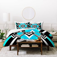 Elisabeth Fredriksson Turquoise And Black Duvet Cover