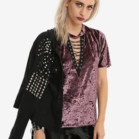 Purple Velvet Lace-Up Girls Top
