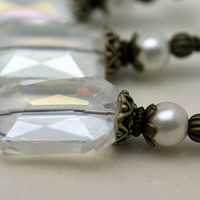 Clear Rectangle Faceted Crystal and White Pearl Bead Dangle Charm Pendant Drop Set