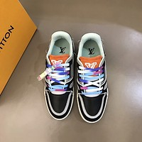 lv louis vuitton men fashion boots fashionable casual leather breathable sneakers running shoes 1193